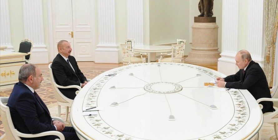 Ильхам Алиев, Никол Пашинян, Владимир Путин, встреча, карабах