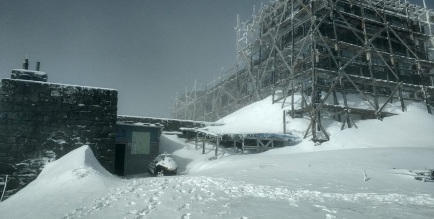 горы, Карпаты, Поп Иван, снегопад, снег