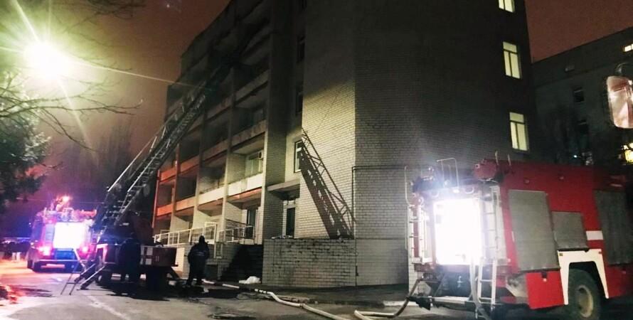 пожар, запорожье, больница, гсчс, пожарные