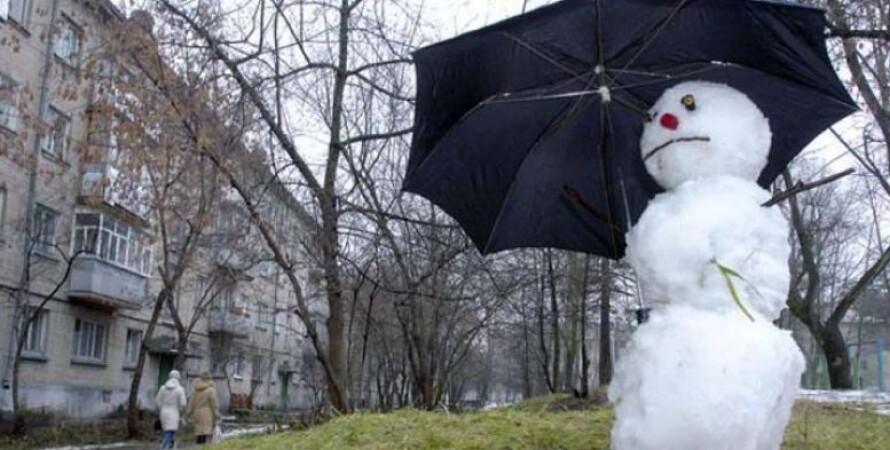 снеговик, теплая зима