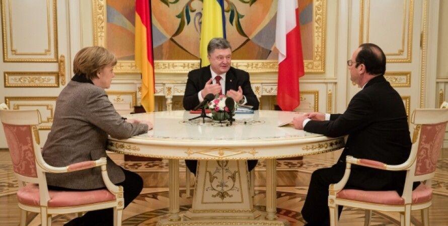 Встреча Порошенко, Меркель и Олланда / Фото пресс-службы президента Украины