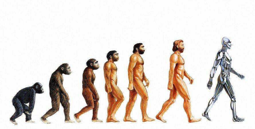 эволюция, древни люди, современные люди, киборг, фото