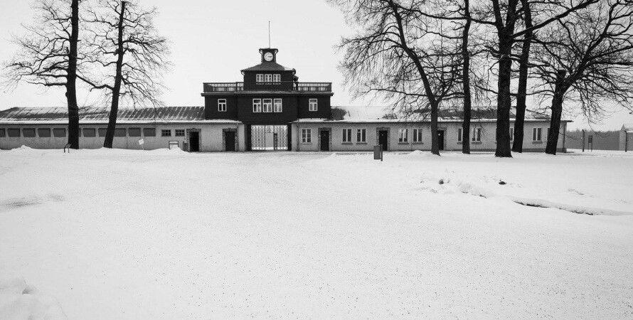 концлагерь, лыжники возле концлагеря, бухенвальд, германия, зимний спорт