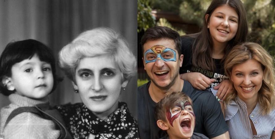 Зеленский с матерью и семьей, день матери, поздравления, семья, коллаж
