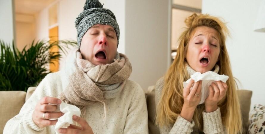 мужчина, женщина, больные, грипп, простуда