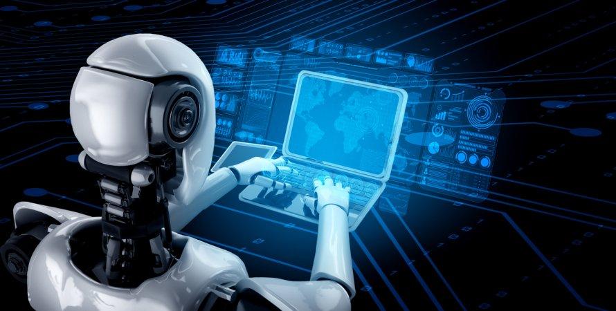 робот, ноутбук, ии
