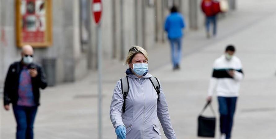 коронавирус, люди в масках, улица
