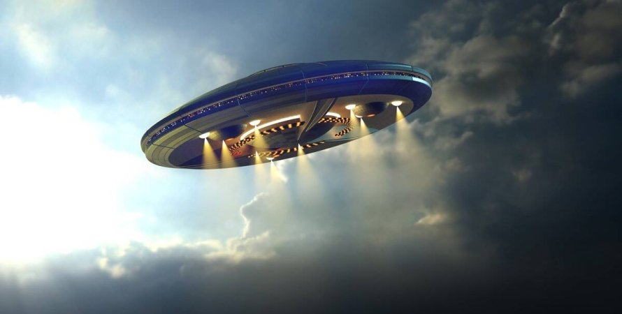 летающая тарелка, НЛО, небо, облака, свет