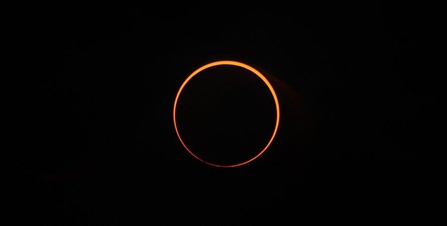 кольцевое солнечное затмение, небо, космос, фото