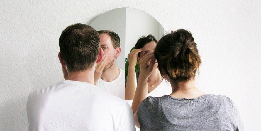 дівчина, хлопець, зовнішність, дзеркало, фото