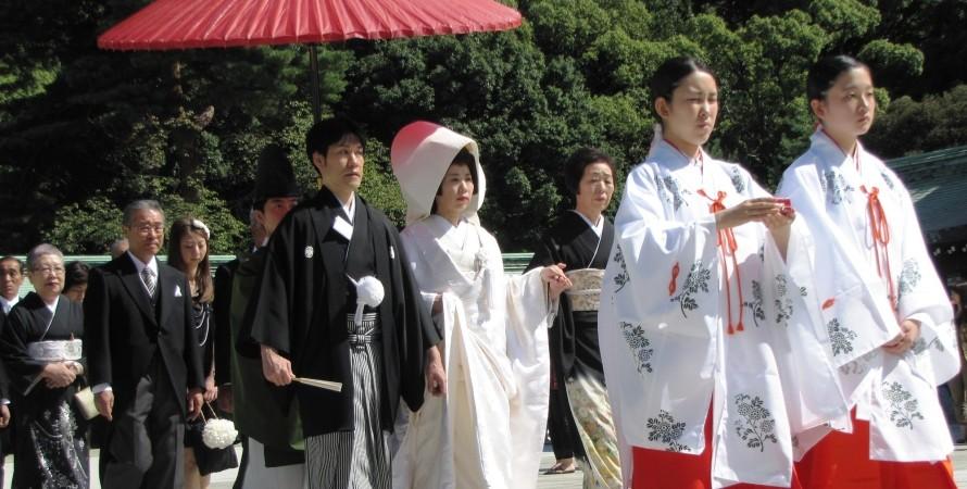 японская свадьба, япония, одна фамилия