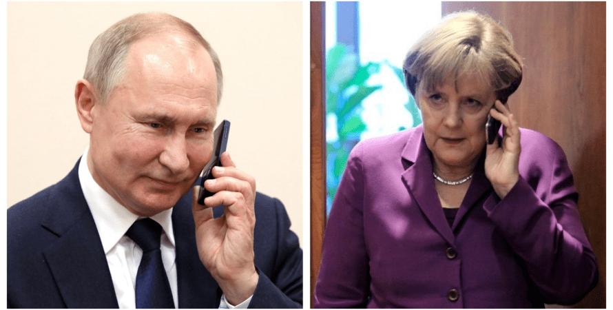 Путин, Меркель, телефонный разговор, телефон, разговор