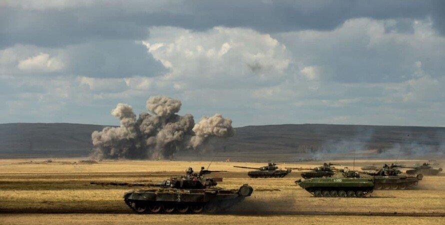 танки, БМП, вибух, поле, степ, небо, росія