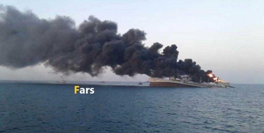 корабль, харг, пожар, иран, вмф