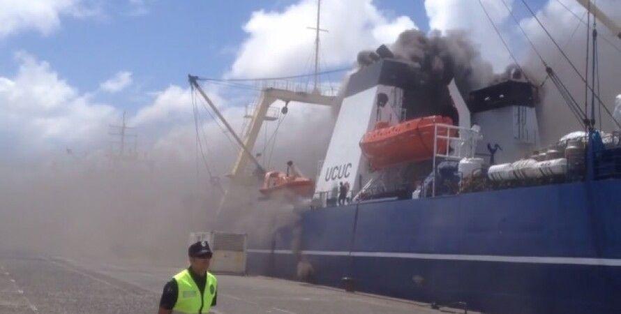 Пожар на российском траулере / Фото: скриншот из видео Youtube