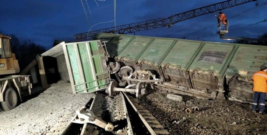 Грузовой поезд, Железнодорожное полотно, Днепропетровская область, Рельсы, электроопоры