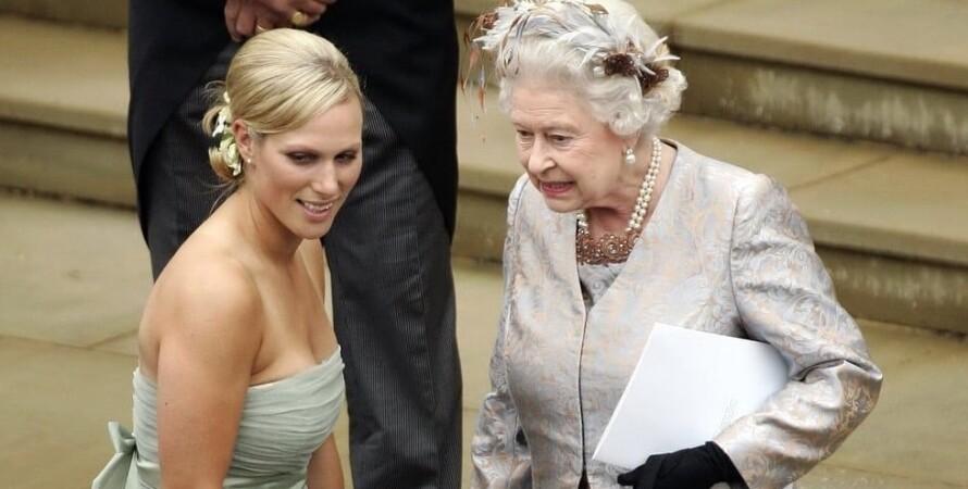 Королева Елизавета II и ее внучка Зара Тиндолл