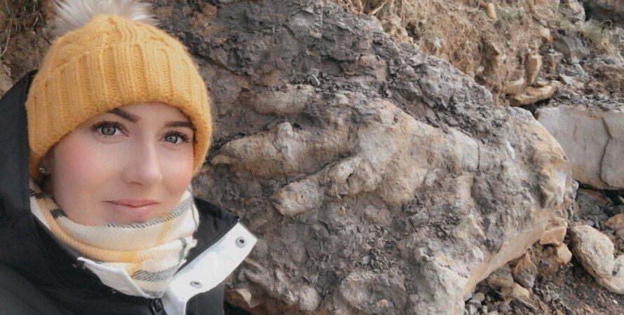 археолог, след динозавра, отпечаток