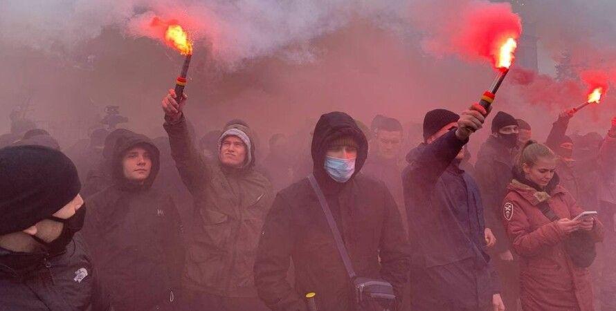 Стерненко, Киев, акция протеста, Офис Генпрокурора, фаеры,