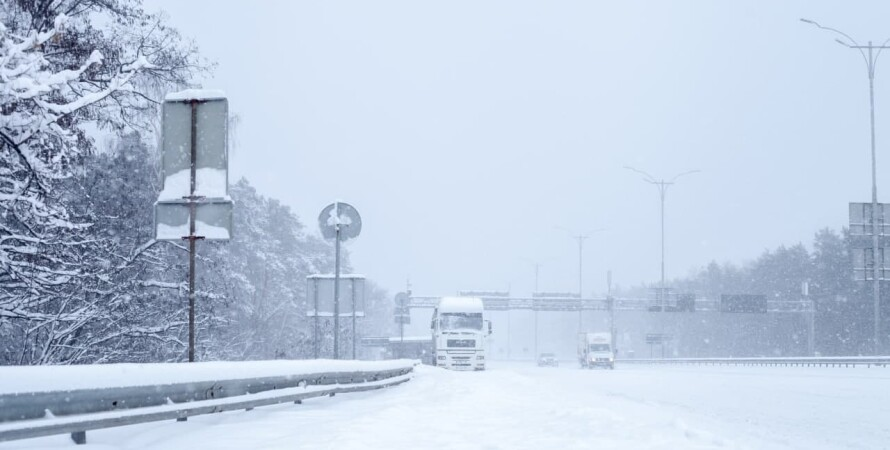снег, заносы, киев, дорога, фуры, фото, запрет