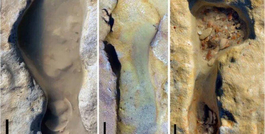 неандертальцы, следы на песке, дети
