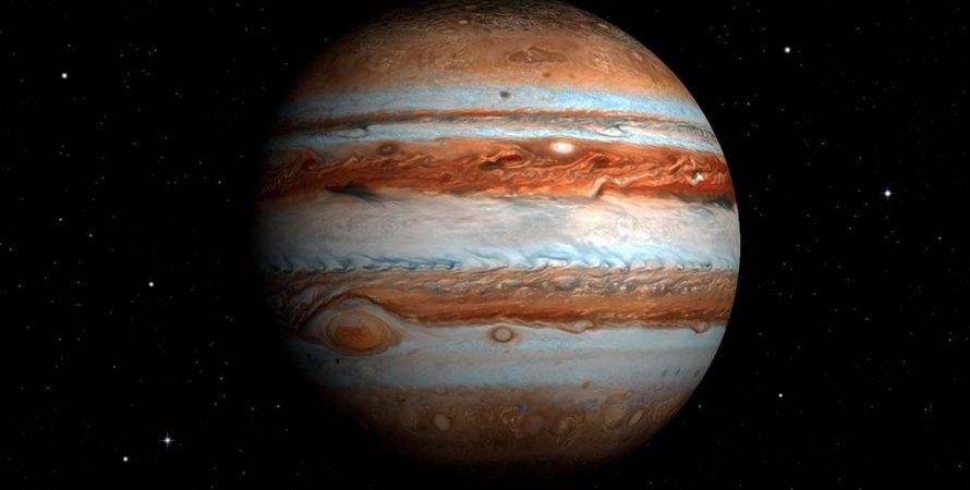 Юпитер, газовый гигант, космос, звезды, фото