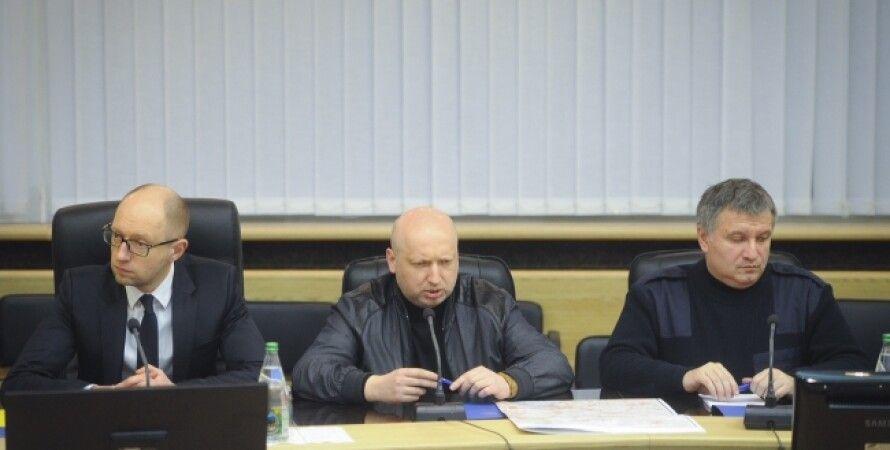 Аресений Яценюк, Александр Турчинов и Арсен Аваков / Фото пресс-службы СНБО