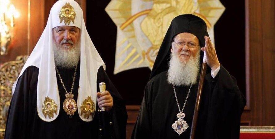 Патриарх Кирилл (слева) и патриарх Варфоломей / Фото: romfea.gr