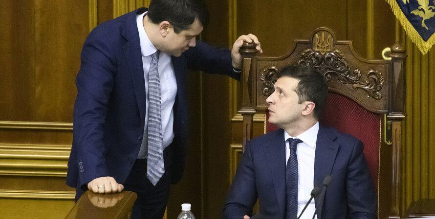 Дмитро Разумков і Володимир Зеленський у Верховній Раді