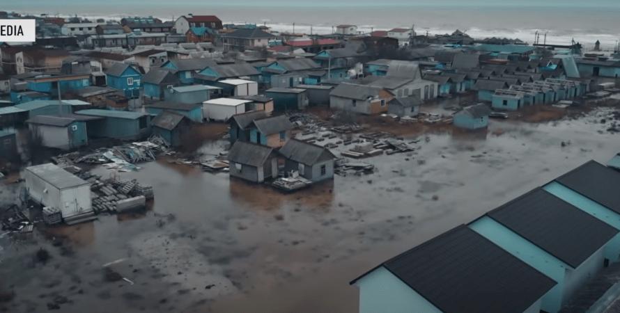 Кирилловку затопило из-за шторма, наводнение, шторм, Запорожская область, Азовское море