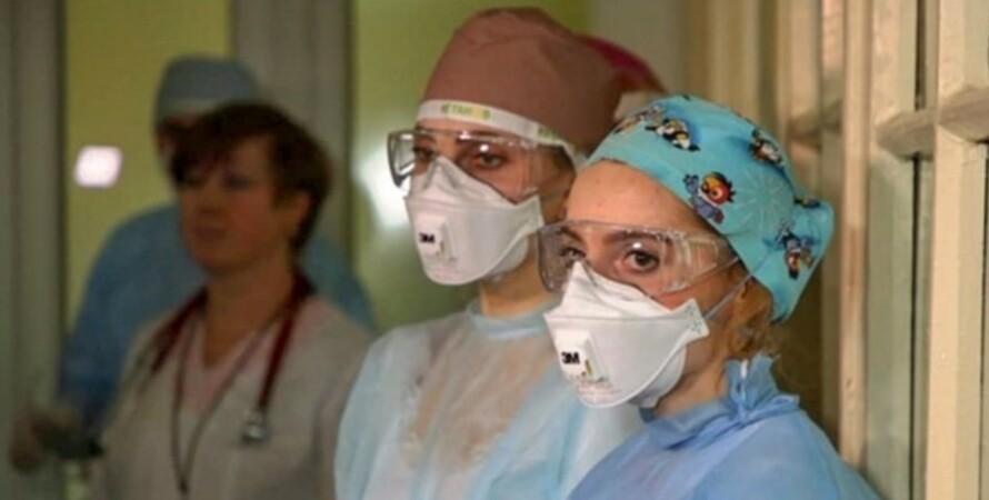 Медики, респираторы, коронавирус, пандемия covid-19, больница