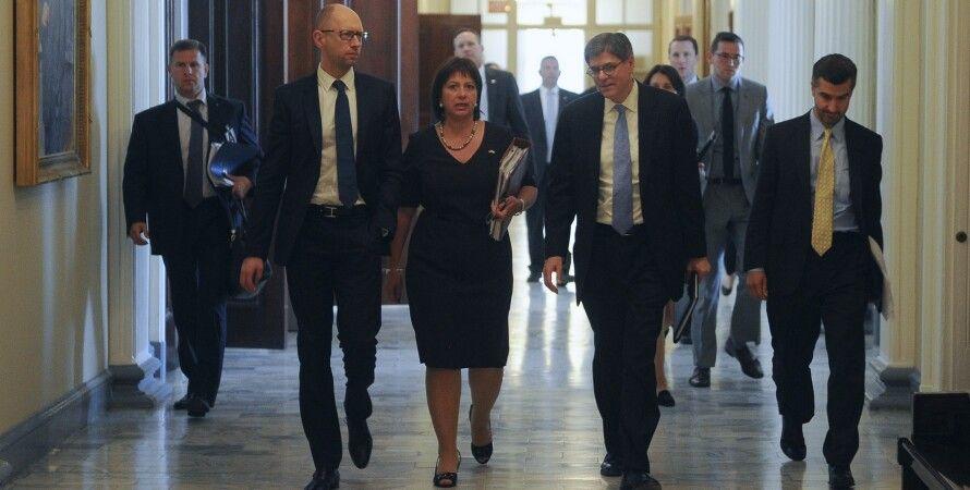 Яценюк, Яресько и Лью в США / Фото пресс-службы Кабмина