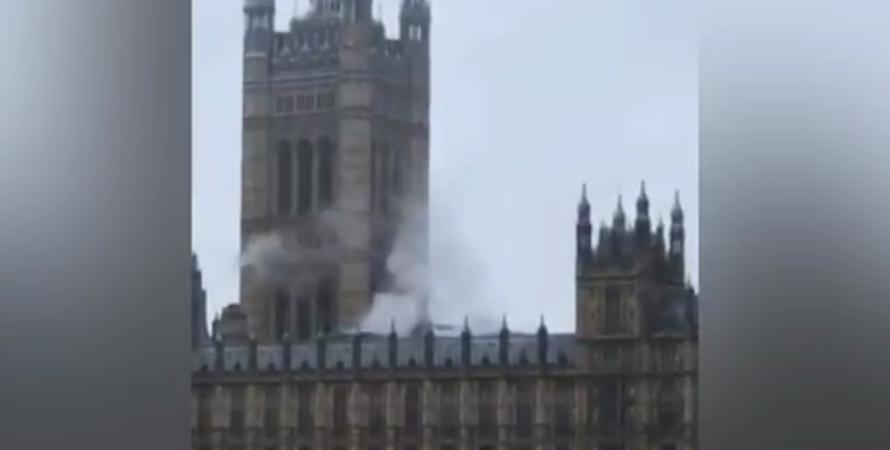 Вестминстерский дворец, лондон, парламент, здание парламента, пожар, дым