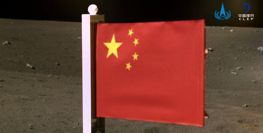 китай, флаг, космос, луна, Chang'e 5