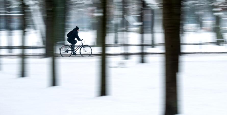 зима, велосипед, фото