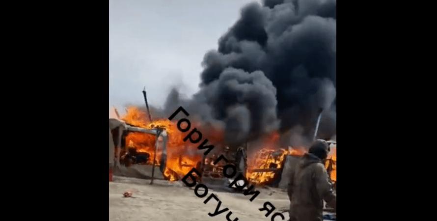 пожар на военной базе, горит палаточный лагерь на границе с украиной