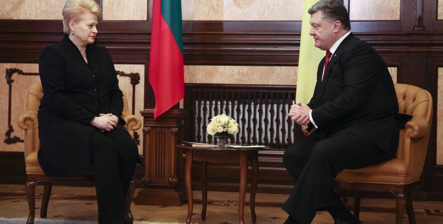 Петр Порошенко и Даля Грибаускайте / Фото пресс-службы президента Украины