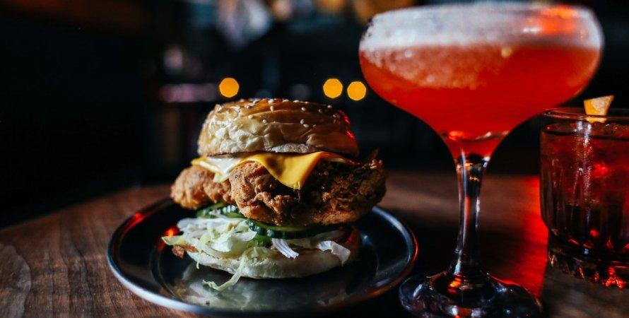 гамбургер, коктейль, фастфуд
