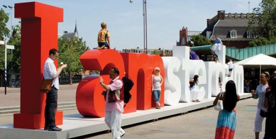 Амстердам, туристы, селфи,