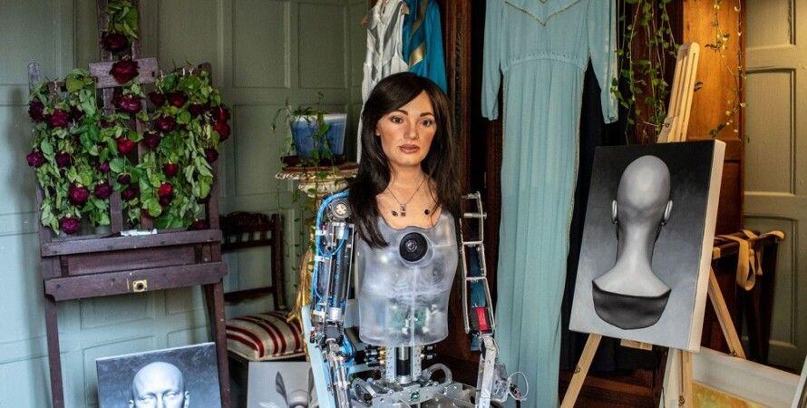 робот, художник, Ai-Da, робот, ІІ, мистецтво, малюнок, портрет
