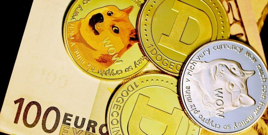 Dogecoin, альткоин, криптовалюта, деньги, евро