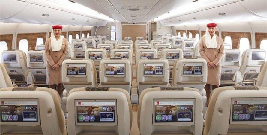 Премиум-эконом класс, Emirates Airlines, A-380, Обслуживание, Самолет, Пассажиры