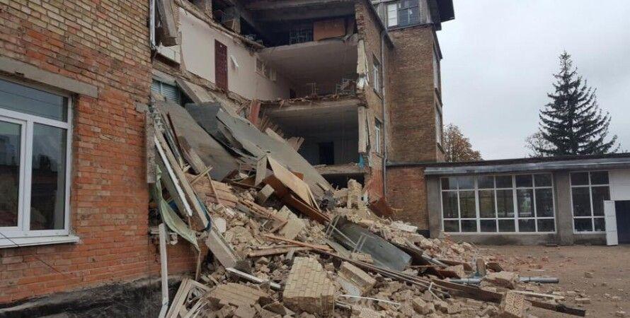 Разрушенная школа в Василькове / Фото: facebook.com/igor.mosijcuk