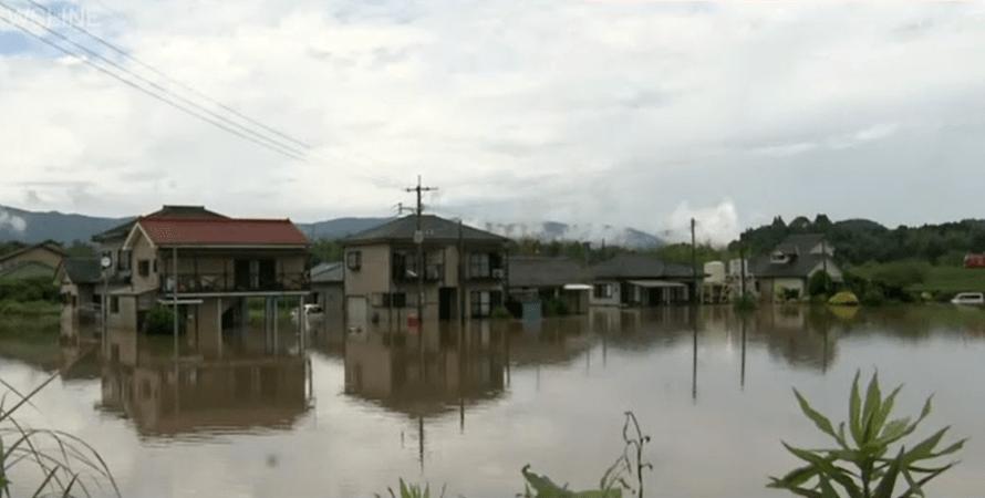 японія, потоп, будинки, фото