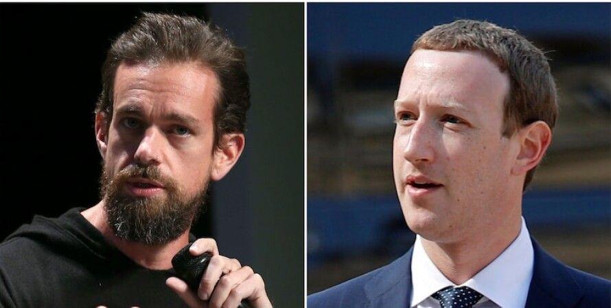 Дорсі, Цукерберг, акції, Facebook, Twitter, трамп, блокування