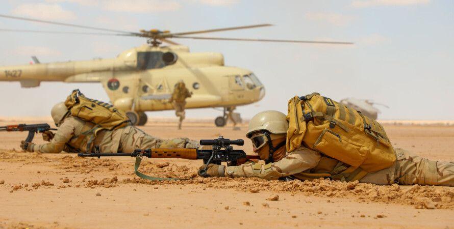 солдат, хафтар, вертолет, снайпер, учения, война, ливия, россия, турция, египет