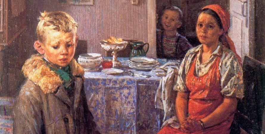 """Картина: Фёдор Решетников """"Опять двойка"""", холст, масло, 1952 год"""