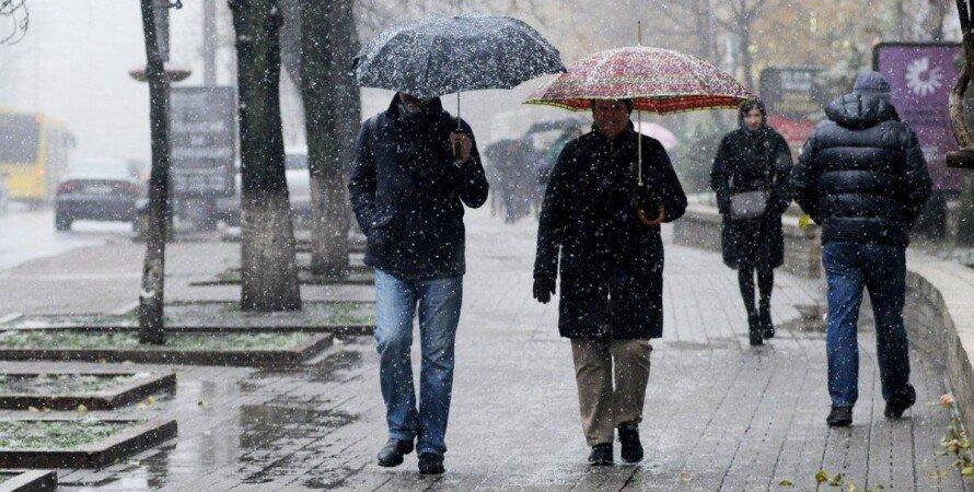 погода, київ, дощ, сніг