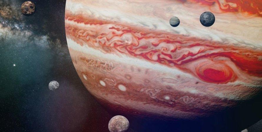 Юпітер, космос, супутники, малюнок