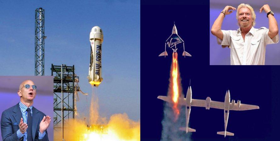 Джефф Безос, New Shepard, Ричард Брэнсон, ракетоноситель Unity